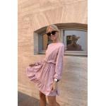 Пудровое платье мини в животный принт - 1414