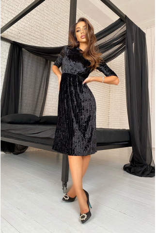 Черное платье плиссе из мраморного бархата - 1415