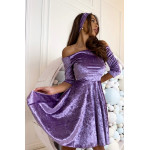 Лілове плаття з відкритими плечима з оксамиту - 1416