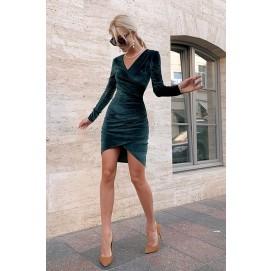 Смарагдове плаття міні з драпіруванням - 1417