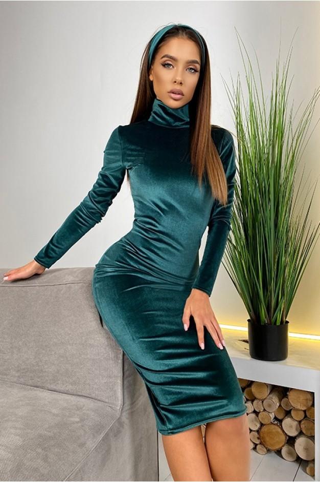 Изумрудное бархатное платье гольф, миди длины - 1420