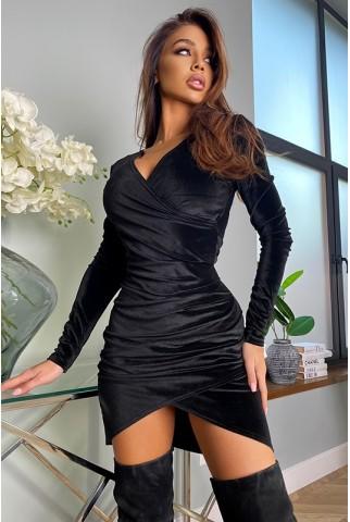 Черное платье мини на запах - 1424