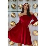 Червона оксамитова сукня з опущеними плечима - 1425