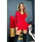 Красное платье мини на запах из бархата - 1427