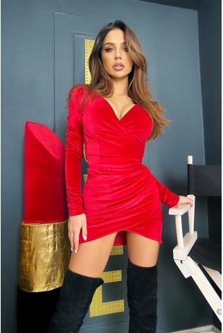 Червона сукня міні на запах з оксамиту - 1427