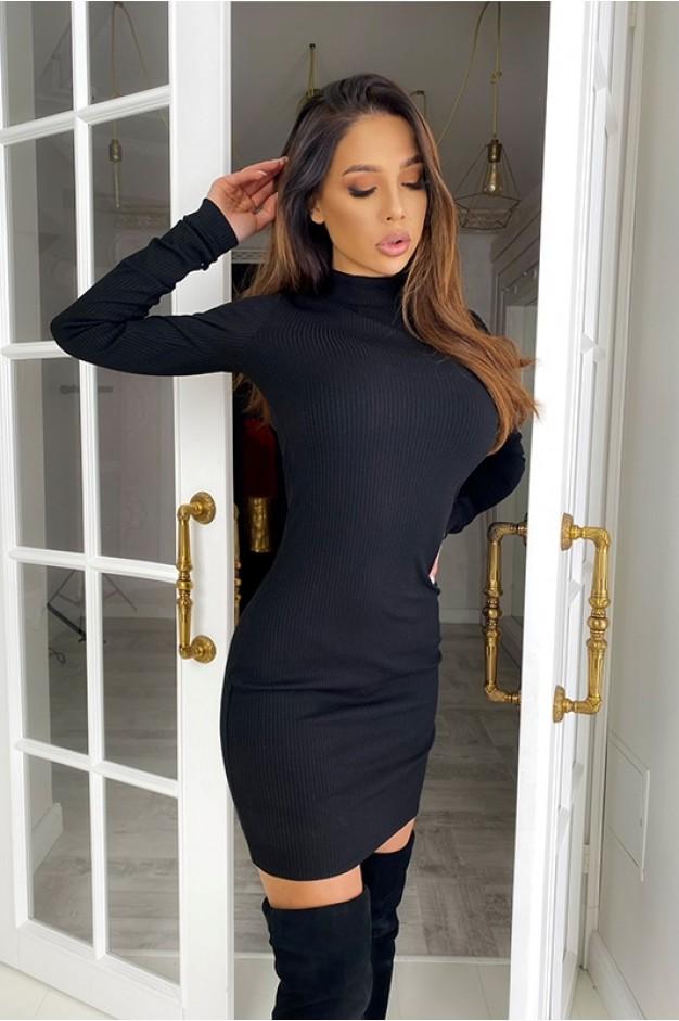 Черное платье в рубчик на длинный рукав - 1428