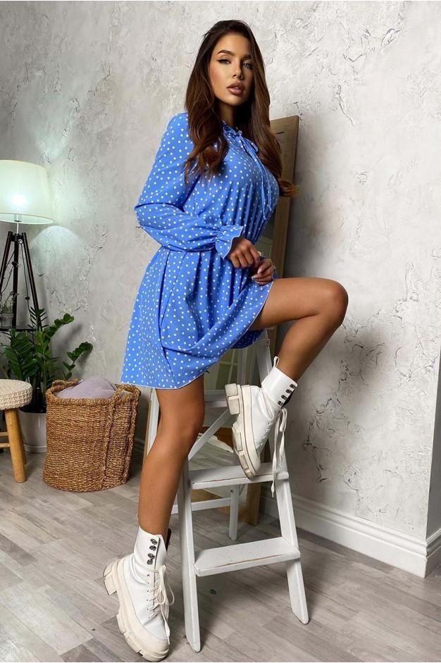 Плаття в блакитний горошок з рюшами - 1435