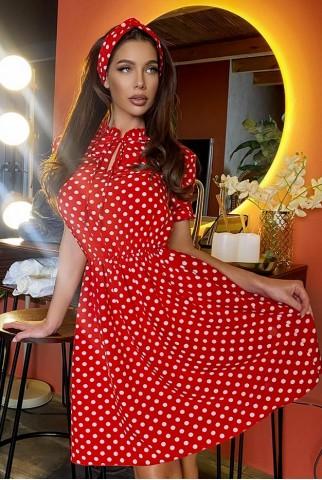 Красное платье в горох 1438