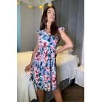 Сіра сукня воланчиками на рукавах з квітковим принтом - 1441