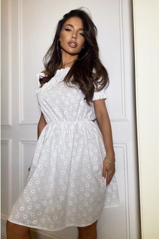 Белое платье из прошвы с открытыми плечами - 1445