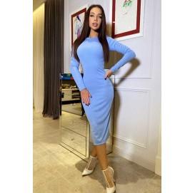 Голубое платье из трикотажа рубчик миди - 1451