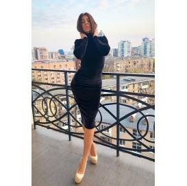 Черное бархатное платье гольф - 1261