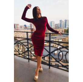 Бордовое бархатное платье миди - 1262