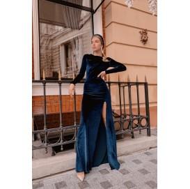 Вечернее бархатное платье в пол, синий цвет - 1348