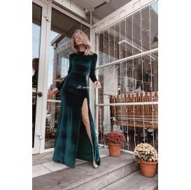 Вечернее бархатное платье в пол Изумруд - 1357