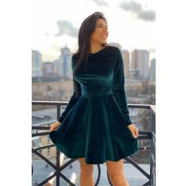 Бархатное платье с юбкой полусолнце Изумрудное - 1365