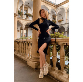 Платье в рубчик миди с разрезом на ноге - 1372