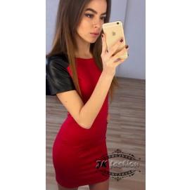 Красное платье мини с кожаными рукавами 1008