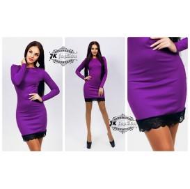 Фиолетовое платье футляр на длинный рукав с кружевом 863