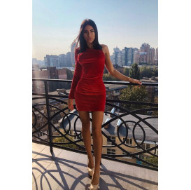 Красное бархатное платье на один рукав - 1257