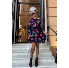 Платье в цветочный принт на длинный рукав - 1408