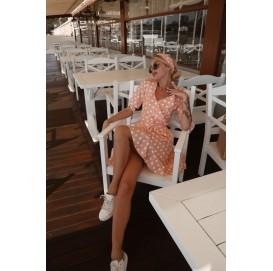 Бежевое платье на запах в горошек - 1399