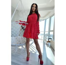 Красное платье в горошек на длинный рукав - 1402