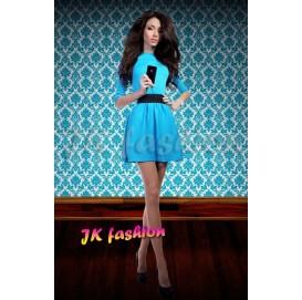 Блакитна сукня до колін з чорним коміром і пишною спідницею 638