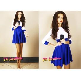 Біло синє плаття з пишною спідницею до колін 579