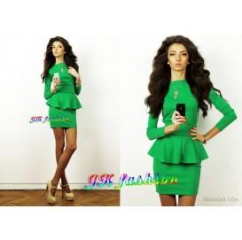 Зелена сукня міні з баскою на рукав 3/4 587