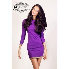 Сукня футляр міні довжини фіолетового кольору з золотистими паєтками 772