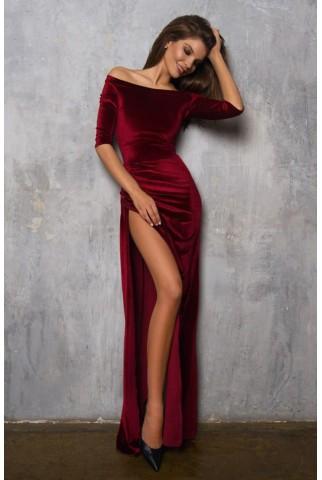 Бордовое вечернее платье с большим боковым разрезом 1048