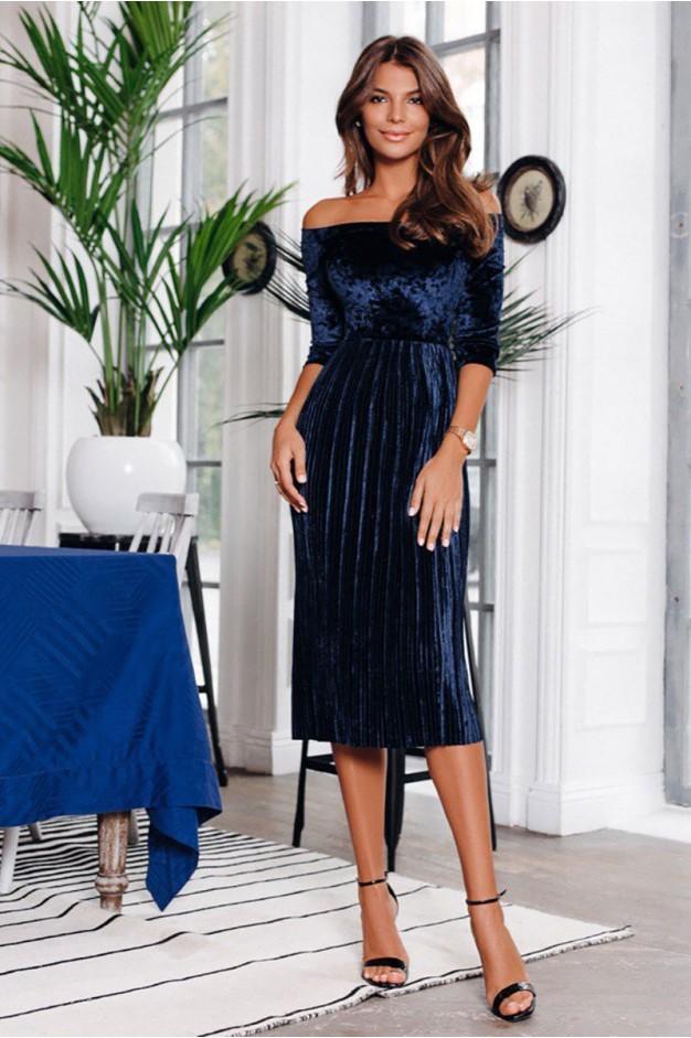 Синя оксамитова сукня плісе 1176