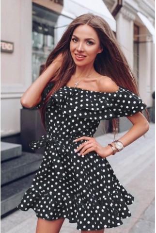 Чорна сукня в горошок з воланами 1227