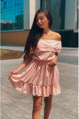 Нежно розовое платье в белый горошек 1232