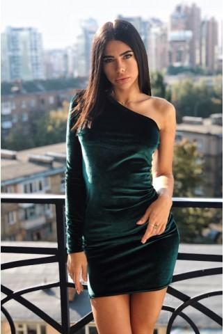 Зелена оксамитова сукня на один рукав - 1259
