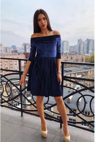 Коротке плаття плісе з оксамиту в синьому кольорі - 1269