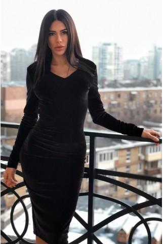 Черное бархатное платье с V-образным вырезом - 1279