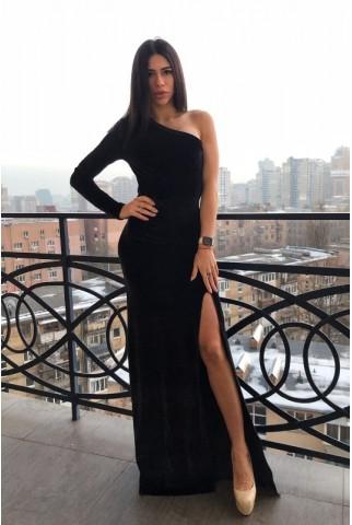 Черное вечернее платье в пол с разрезом - 1281
