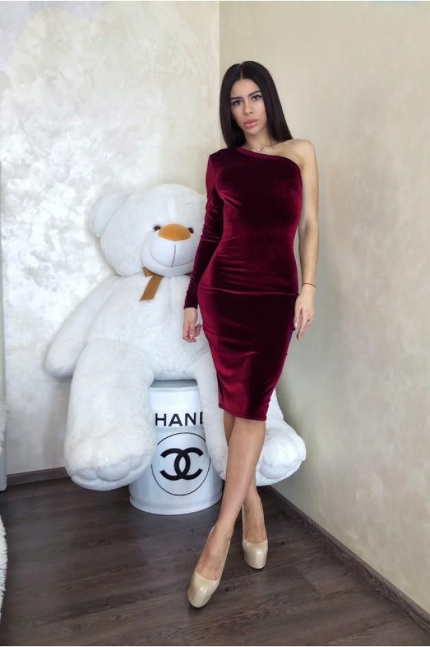 Бордовое бархатное платье на один рукав - 1284
