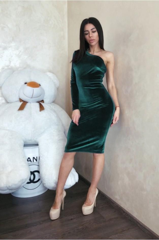 Зеленое бархатное платье на один рукав - 1285