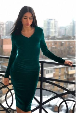 Бархатное изумрудное платье с V образным вырезом - 1292