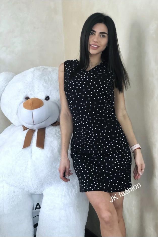 Чорна сукня в горошок міні довжина - 1300