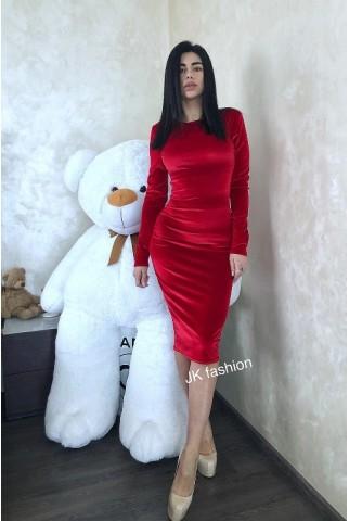 Червона оксамитова сукня футляр - 1301