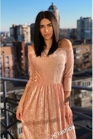 Платье плиссе цвет ПУДРА - 1307