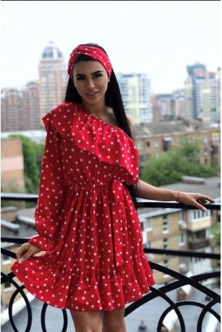 Платье в красный горох на один рукав с воланами - 1318