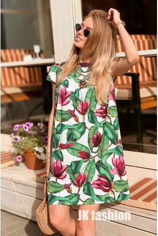 Платье с магнолиями oversize - 1321