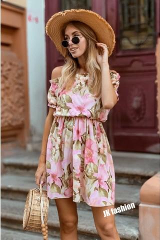 Сукня з квітковим принтом довжиною вище колін - 1328
