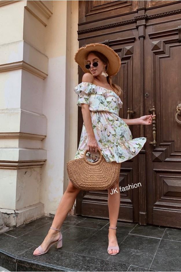 Сукня з квітковим принтом, з горловиною на гумці і воланами - 1329