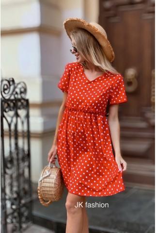 Красное платье в горох на короткий рукав - 1332